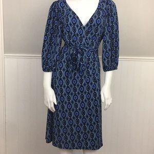 Bisou Bisou True Wrap Dress Blue Circles